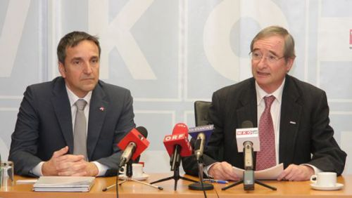 Michael Otter (l.) and Christoph Leitl (r.) at press conference