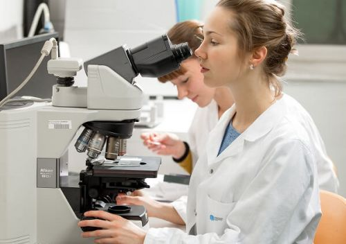 female researchers in lab
