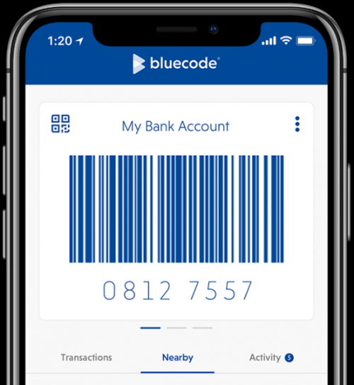 mobile phone with Bluecode app
